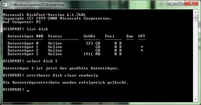 DiskPart Datenträgerauswahl - list disk