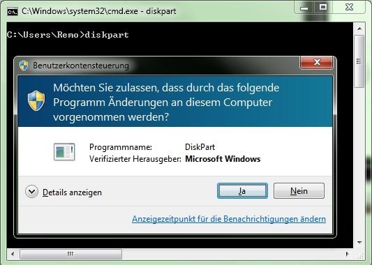 DiskPart und Benutzerkontensteuerung