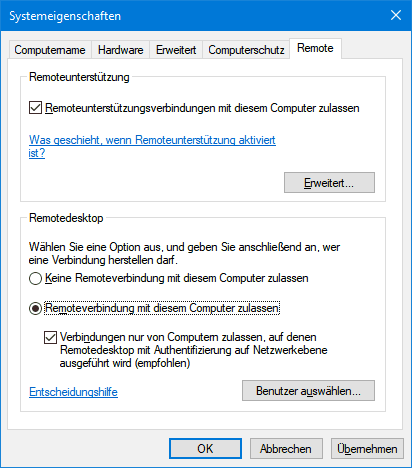 Systemeigenschaften unter Windows 10 - Tab Remote