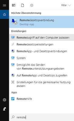 Mithilfe der Windows 10 Suche die Remotedesktopverbindung zulassen