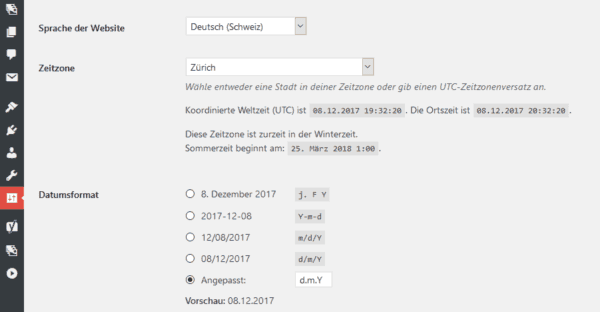 WordPress: Sprache der Website Deutsch - Schweiz